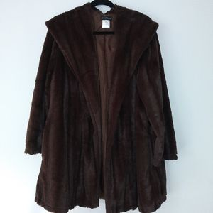 Jackets & Blazers - CHOCOLATE BROWN FAUX FUR COAT